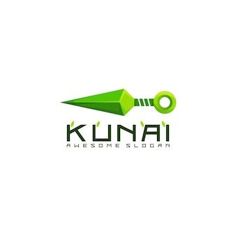Fantastisches kunai-logo bunt lokalisiert auf weiß