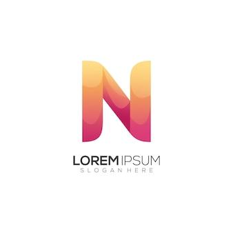 Fantastisches logo n buchstabe bunter farbverlauf