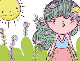 Fantastisches Mädchen, um Kreaturen mit Sonne zu verteidigen