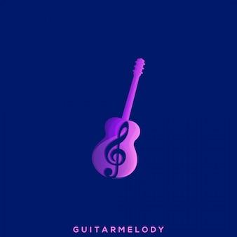 Fantastisches melodie-gitarren-premium-logo