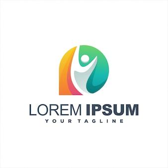 Fantastisches personenverlauf-logo-design