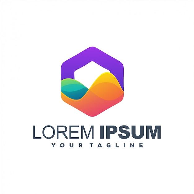 Fantastisches sechseck-farbverlauf-logo-design