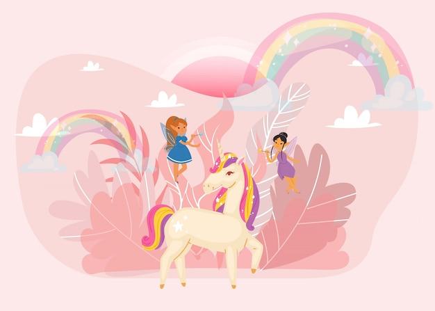 Fantastisches wort mit magischem einhorn, feenmädchen, regenbogen und flügeln, wolkenkarikaturillustration für kinder.