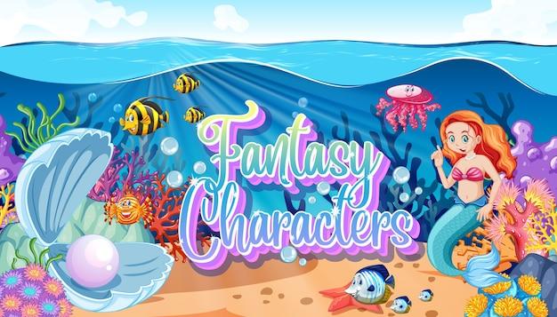 Fantasy charaktere logo mit meerjungfrauen auf unterwasser