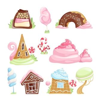 Fantasy desserts. schokoladen-karamell-keks-gelee-süßigkeitslutscher-märchenvektorgegenstände eingestellt