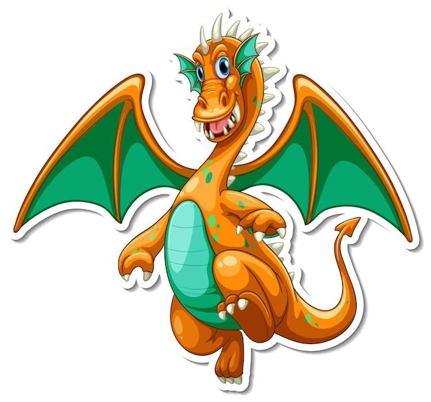 Fantasy drache-cartoon-charakter-aufkleber