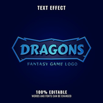 Fantasy-drachen-rpg-spiellogotitel mit rahmentexteffekt