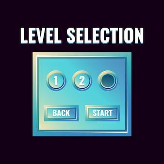 Fantasy-hochglanzspiel-ui-level-auswahloberfläche für 2d-spiele