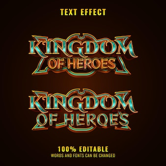 Fantasy kingdom of heroes rpg mittelalterliches spiel logo titeltexteffekt mit rahmen