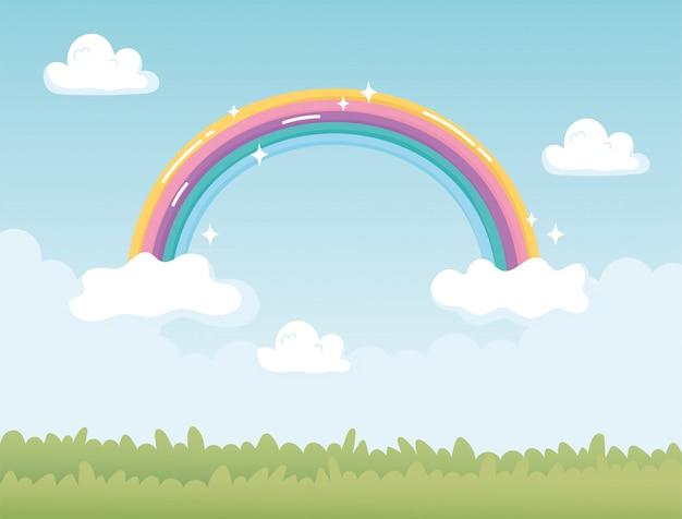 Fantasy-landschaftsnaturregenbogen mit wolkenkarikatur
