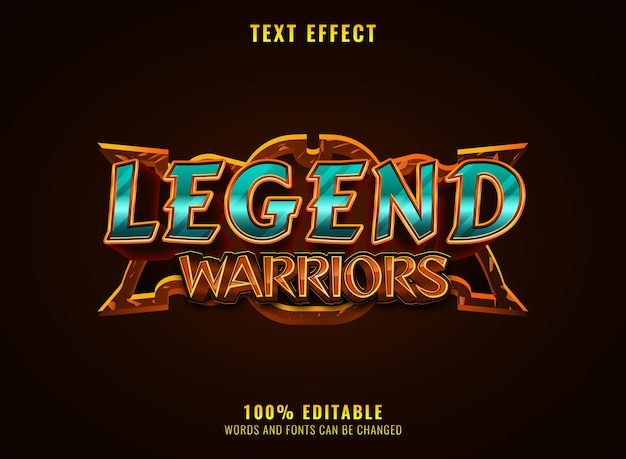 Fantasy legend warriors rpg mittelalterliches spiel logo titeltexteffekt mit rahmen