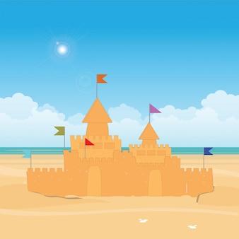 Fantasy sandburg mit flagge.