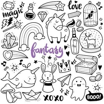 Fantasy-schwarz-weiß-doodle-illustration