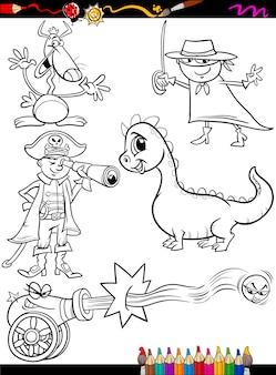 Fantasy-set cartoon-malvorlagen