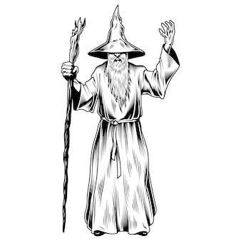 Fantasy-zauberer isoliert auf weiß
