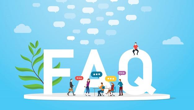Faq häufig gestelltes fragenkonzept mit teamleuten und großen wörtern