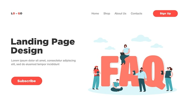 Faq-landingpage. winzige benutzer in der nähe riesiger buchstaben, die fragen stellen und antworten erhalten, anweisungen für die zielseite der problemlösung solution