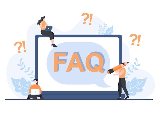 Faq oder häufig gestellte fragen für website, blogger-helpdesk, kundenunterstützung, hilfreiche informationen, anleitungen. hintergrund-vektor-illustration