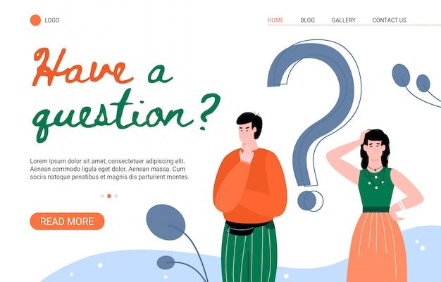 Faq und kundenfragen antwortseite mit personen flache illustration.