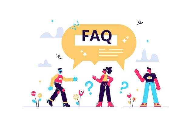 Faq-unterstützung als häufig gestellte fragen helfen bei flachen kleinen personen konzept. antworten der kundenlösung von der webassistenzseite mit ratschlägen. hier finden sie hinweise zur problemlösung.