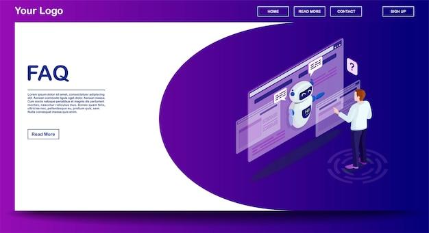 Faq-webseitenvektorschablone mit isometrischer illustration