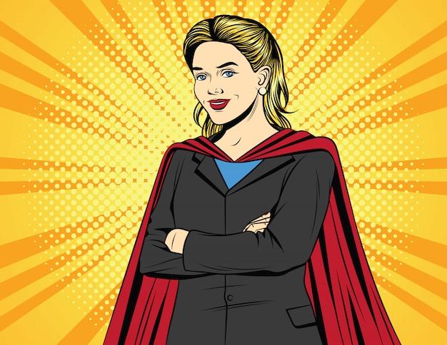 Farb-pop-art-comic-illustration einer geschäftsfrau in einem superheldenkostüm.