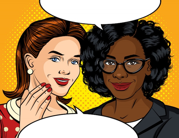 Farb-pop-art-stilillustration eines mädchens, das spricht. freundliches gespräch zwischen zwei frauen. freundinnen erzählen sich geheimnisse. zwei schöne damen unterhalten sich.