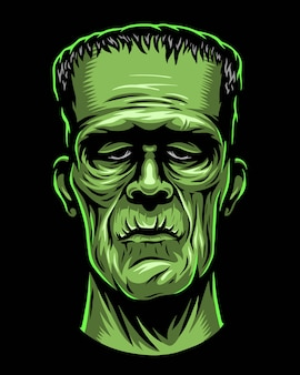 Farbabbildung des monsters, zombiekopf