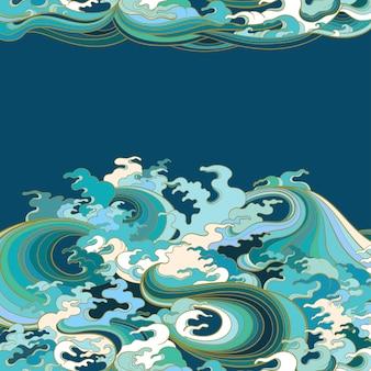 Farbabbildung, die meereswellen im traditionellen orientalischen stil darstellt.