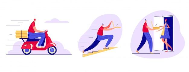 Farbabbildung in einem flachen stil. schnelle pizza-lieferung per kurier. der kurier trägt pizza auf einem roller, rennt die treppe hinauf und klingelt an der tür.