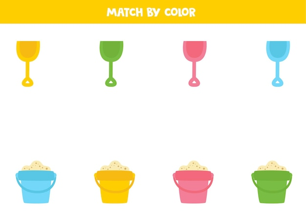 Farbabstimmungsspiel für kinder im vorschulalter. schaufeln zusammenbringen.