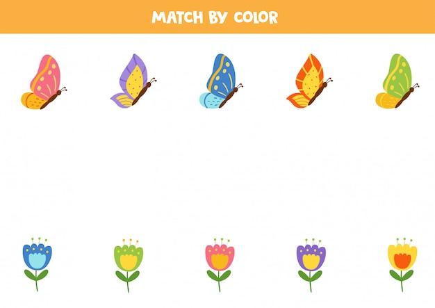 Farbanpassungsspiel für kinder. kombinieren sie schmetterlinge und glockenblumen nach farben.