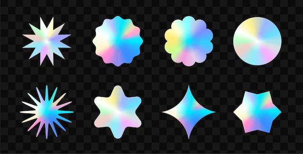 Farbaufkleber-modell. leere etiketten in verschiedenen formen, zerknitterte papierembleme im kreis. aufkleber oder patches für vorschau-tags, etiketten. vektor-illustration