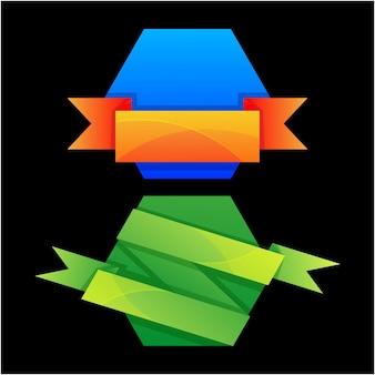 Farbband-icon-set mit farbverlauf-vektor-stil