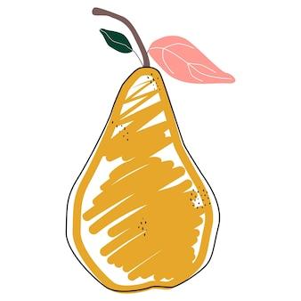 Farbbirne isolierte vektorillustration. skandinavischer stil. sommerplakat. gesunde zeichenkunst. süße frucht.