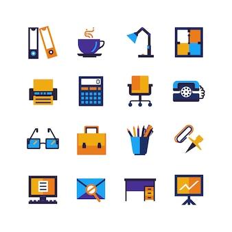 Farbbüro-lokalisierte ikonen eingestellt