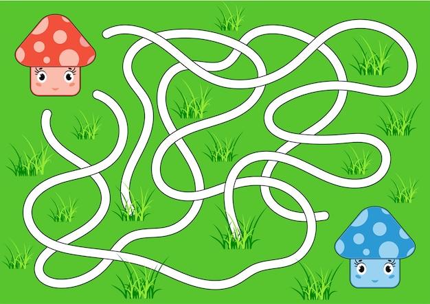 Farbe abstraktes labyrinth. helfen sie dem roten pilz, den blauen pilz zu erreichen.