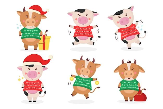 Farbe bullen chinesisches neujahr symbol tiere mit hörner kuh tier urlaub cartoon-figur
