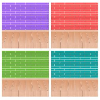 Farbe der backsteinmauer 4 und bretterboden.