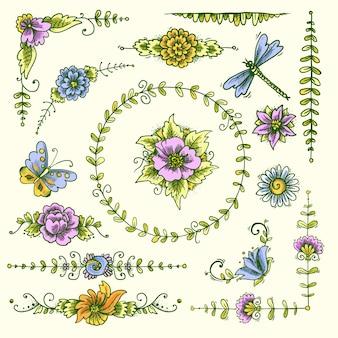 Farbe der dekorativen elemente der weinlese