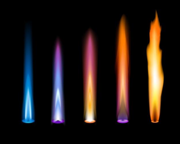 Farbe flammen. gas- und zink-, kalium-, strontium- und natrium-ionenemission der chemischen elemente im flammtest der chemischen laboranalyse. blaue, violette und orangefarbene flammen im bunsenbrenner