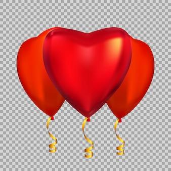 Farbe glänzende herzform heliumballons isoliert auf transparentem hintergrund.