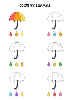 Farbe niedliche regenschirme. pädagogische malvorlage für kinder im vorschulalter.