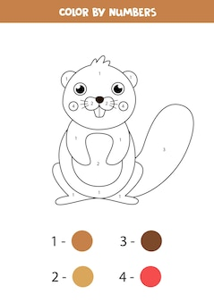 Farbe niedlichen cartoon biber durch zahlen. pädagogisches mathe-spiel für kinder. arbeitsblatt zum ausmalen für kinder.