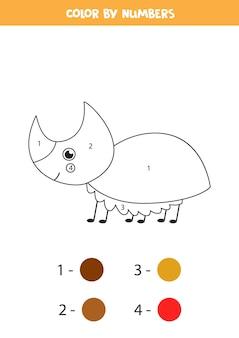Farbe niedlichen nashornkäfer durch zahlen. pädagogische malvorlage für kinder im vorschulalter.