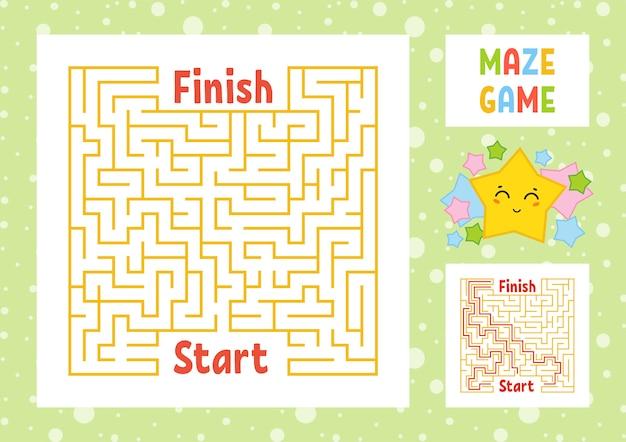 Farbe quadratisches labyrinth. finden sie den richtigen weg von anfang bis ende.