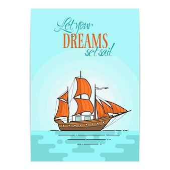 Farbe schiff mit orangefarbenen segeln