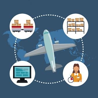 Farbe silhouette welt karte lagerung logistik und closeup flugzeug