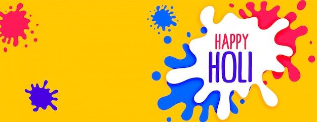 Farbe spritzt für glückliche holi festivalfahne