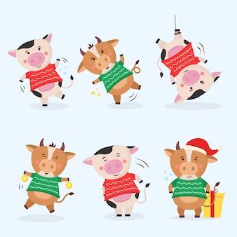Farbe stiere chinesisches neues jahr symbol tiere mit hörnern kuh tierferien karikaturfigur